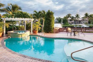 Tropical Swimming Pool with Trellis, Fence, exterior brick floors, Pool with hot tub