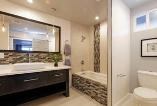Contemporary Master Bathroom with Ceramic Tile, Dupont Corian Designer White, Soho glass stone stack, Flush, Vessel sink