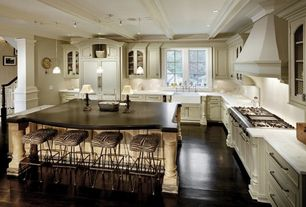 Traditional Kitchen with Flat panel cabinets, Soapstone counters, Farmhouse sink, Ms international gray soapstone, Paint 1