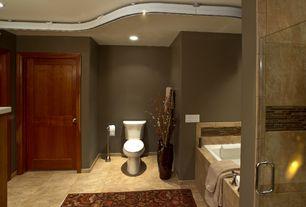 Craftsman Master Bathroom with High ceiling, Master bathroom, Shower, Paint 1, Bathtub, frameless showerdoor, Wall Tiles