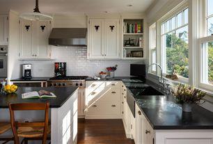Traditional Kitchen with Farmhouse sink, Pendant light, Ms international - gray soapstone, full backsplash, Paint 2, L-shaped