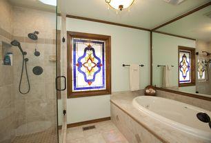 Craftsman Master Bathroom with Master bathroom, Handheld showerhead, frameless showerdoor, flush light, Stained glass window
