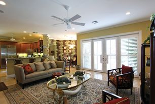"""Eclectic Great Room with Smith & noble 4 1/2"""" louver wood shutters, Crown molding, Chandelier, travertine tile floors"""