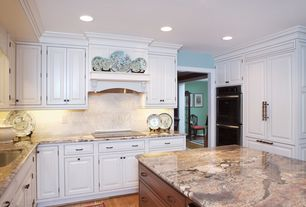 Traditional Kitchen with double wall oven, can lights, Undermount sink, U-shaped, Framed Partial Panel, Raised panel