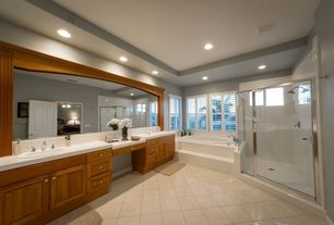 Contemporary Master Bathroom with Standard height, Wall Tiles, Stone Tile, Double sink, framed showerdoor, Master bathroom