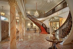 Traditional Entryway with Columns, Pendant light, Classic Marble Column - MCOL-117, French doors, Transom window, Balcony