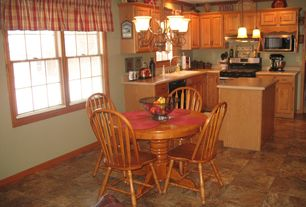 Traditional Kitchen with Breakfast nook, Wall Hood, can lights, Pendant light, Standard height, Chandelier, gas range