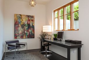 Contemporary Home Office with Concrete floors, flush light