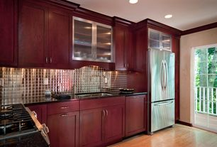 Modern Kitchen with Northern Red Oak - Natural 3 in. Engineered Hardwood Plank, Crown molding, L-shaped, Large Ceramic Tile
