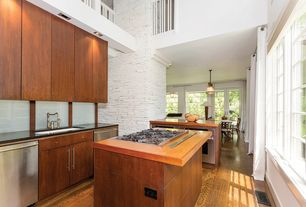 Contemporary Kitchen with electric cooktop, European Cabinets, Casement, Flush, full backsplash, L-shaped, Cathedral ceiling