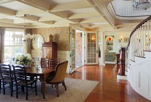 Traditional Dining Room with interior wallpaper, Box ceiling, Crown molding, French doors, Chandelier, Laminate floors