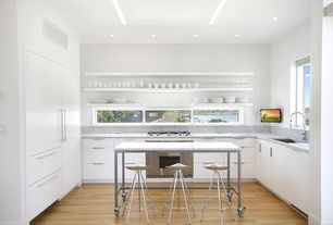 Modern Kitchen with flush light, Breakfast bar, Undermount sink, Oak - Toast 2 1/4 in. Engineered Hardwood Strip, Flush