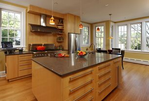 Modern Kitchen with Flush, European Cabinets, Pendant light, Simple granite counters, Breakfast nook, One-wall