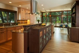 Contemporary Kitchen with Epoch spectrum granite and glass blend 12 in. x 12 in. mesh mounted floor and wall tile, Paint 1
