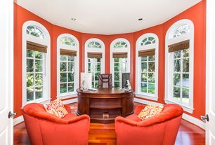 Traditional Home Office with Arched window, Casement, Hardwood floors, six panel door, can lights, High ceiling