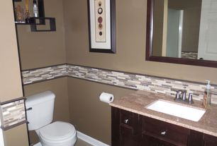 Contemporary 3/4 Bathroom with Achim, Magic Gel Mosaic Decorative Wall Tile in Coffee and Beige Piano, Flush, Undermount sink