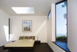 Contemporary Guest Bedroom with Skylight, Hardwood floors, Brown Persa Platform Bed