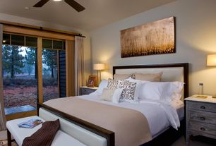 Contemporary Guest Bedroom with Carpet, flush light, picture window, Standard height, Ceiling fan, sliding glass door