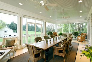 Traditional Porch with French doors, Transom window, Screened porch, Wood plank ceiling (tongue & groove board), Pathway