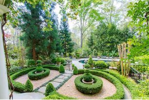 Traditional Landscape/Yard with exterior stone floors, Fence, Raised beds, Pathway