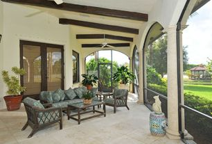 Craftsman Porch with exterior terracotta tile floors, exterior tile floors, picture window, Gazebo, Screened porch