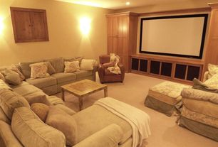 Traditional Home Theater with Carpet, Wall sconce, Sedgwick recliner - leather, Broyhill veronica 6170, Standard height