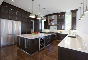 Contemporary Kitchen with Flat panel cabinets, Simple marble counters, Evervue LT Series Kitchen HDTV, Pendant light, Flush