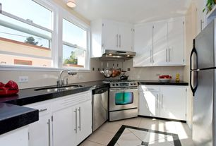 Contemporary Kitchen with Undermount sink, Large Ceramic Tile, U-shaped, Granite black galaxy polished, European Cabinets