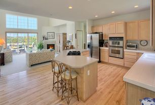 Traditional Kitchen with Maple Natural 1/2 in. Thick x 3 in. Wide x Random Length Engineered Hardwood Flooring, L-shaped