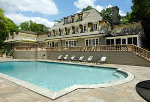 Traditional Swimming Pool with exterior stone floors, French doors, Deck Railing, specialty window, Other Pool Type
