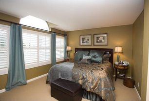 Eclectic Guest Bedroom with Carpet, Arched window, Kings Brand Brown Faux leather Folding Storage Ottoman Bench / Footstool