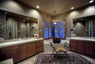 Eclectic Master Bathroom with Master bathroom, Pendant light, Slate tile counters
