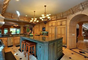 Country Kitchen with MS International Verde Butterfly Granite, Raised panel, Dura Supreme Cabinetry Arcadia Classic Panel