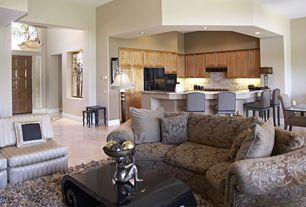 Eclectic Great Room with High ceiling, flush light, Built-in bookshelf, Concrete tile , Carpet