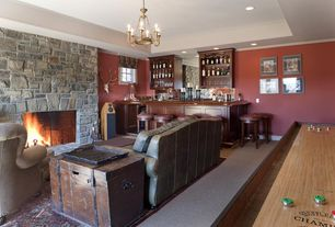 Country Bar with Chandelier, Carpet, Built-in bookshelf, Fireplace, Standard height, can lights, Casement
