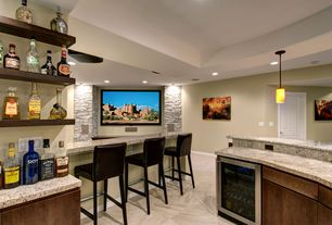 Contemporary Basement with Dry stacked stone veneer accent wall, Open shelving, Urestone stacked stone - slate grey