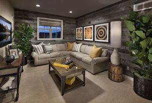 Contemporary Living Room with Steve Silver Winston Rectangle Distressed Tobacco Wood and Metal Coffee Table, Carpet