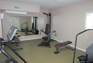 Traditional Home Gym with flush light, Carpet