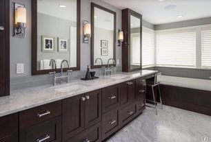 Traditional Master Bathroom with Complex marble counters, MS international Arabescato Carrara Marble, Subway Tile, Flush