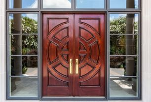 Asian Front Door with Transom window, exterior stone floors