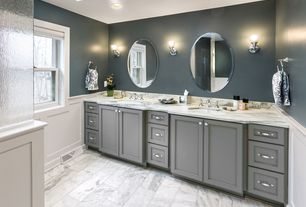 Contemporary Master Bathroom with Complex marble counters, Standard height, Complex Marble, can lights, Shower, Flush