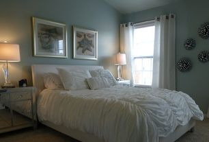 Contemporary Guest Bedroom with Metal wall art, White bedding, Lucite table lamp, Curtain rod, Mirrored cabinet