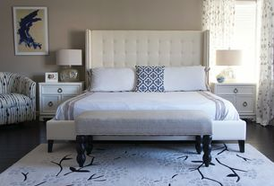 Contemporary Master Bedroom with Hardwood floors, Addison 3 drawer nighstand, Neiman Marcus Parlin Tufted Wing Bed