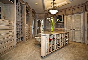 Traditional Closet with Chandelier, Crown molding, French doors, Built-in bookshelf, Carpet, can lights, Standard height