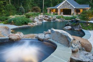 Rustic Swimming Pool with Pool with hot tub, Fountain