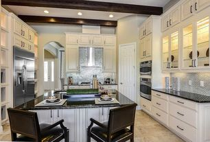 Contemporary Kitchen with Metal Tile, Breakfast bar, Inset cabinets, full backsplash, Paint 1, Raised panel, Walk-in pantry