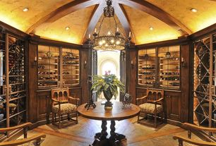 Mediterranean Wine Cellar with Designers Fountain 9189 Alhambra 14 Light Chandelier in Natural Iron Finish, Exposed beam
