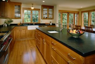Traditional Kitchen with Glass panel, Paint1, flush light, Kitchen island, Flush, L-shaped, French doors, European Cabinets