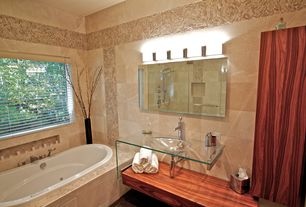 Modern Full Bathroom with picture window, Wall Tiles, wall-mounted above mirror bathroom light, drop-in sink, Shower, Bathtub