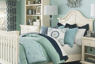 Traditional Guest Bedroom with Paint 1, Broyhill mirren harbor arched panel storage bed, Casement, Standard height